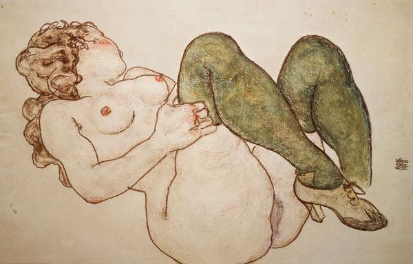ego schiele desnuda con medias verdes