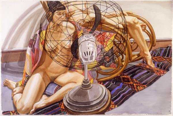philip pearlstein study for two models with fan in front